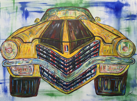 "David Harper (British, b. 1967), ""Chevy Camaro 350 V8"", 2016, acrylic on canvas, signed"