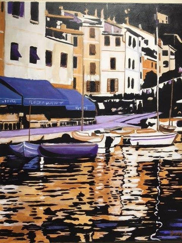 "Luigi Fumagalli (Italian, b. 1937), ""Portofino de Notte"", ca. 2007, oil on canvas, signed"