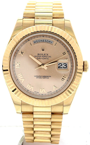 Men's Rolex 18K Rose Gold Oyster Perpetual Day-Date II Watch, ref. 218235