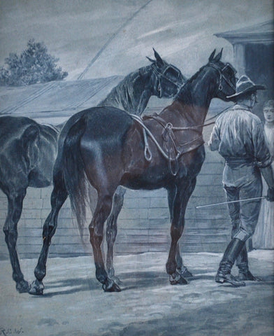 "Richard Caton Woodville (American, 1825-1855), ""War Horse, Requisition"", watercolor on paper"