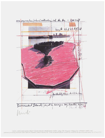 Christo (American, b. 1935), Surrounded Islands, Project for Biscayne Bay, Greater Miami, Collage, 1983, offset lithograph, signed