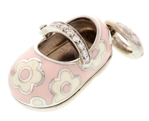 18K White Gold, Enamel, and Diamond Strap Flower Baby Shoe Charm, designed by Aaron Basha, New York
