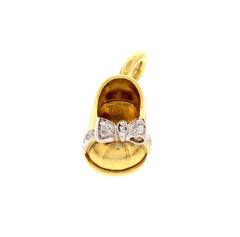 18K Yellow and Diamond Bow Shoe Pendant, designed by Aaron Basha, New York