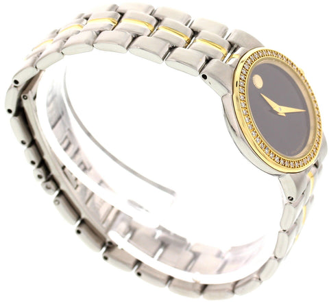 Ladies Movado Museum Bubble 18K Yellow Gold Plated, Stainless Steel, and Diamond Watch