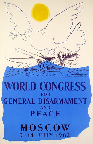 Pablo Picasso (Spanish, 1881-1973), World Congress for General Disarmament and Peace-Moscow, lithograph, 1962