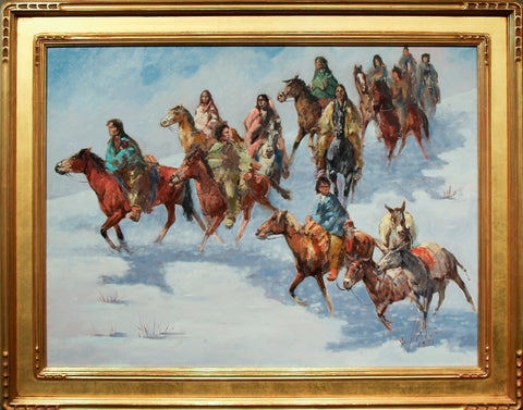 Vladan Stiha (American, 1908-1992), Navajo Riders in the Snow, 1971, oil on canvas, signed