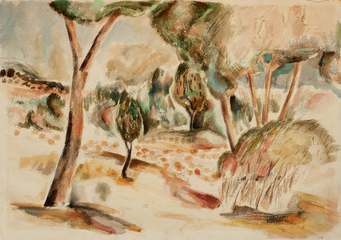 William Lumpkins (American, 1909-2000), Untitled (Modernist Landscape), 1937, watercolor, signed