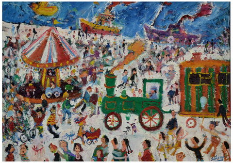 Simeon Stafford (British, b. 1956), A Northern Fair, 2004, oil on canvas, signed