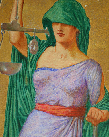 "John Riley Wilmer (British, 1883-1941), ""Justice, Strength, Knowledge, Time"", mixed media, ca. 1920"