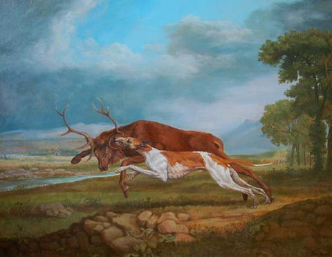 "Jonathan Adams (British, contemporary), ""Hound Coursing A Stag"", 2011, oil on canvas"