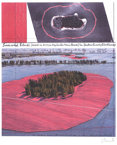 Christo (American, b. 1935), Surrounded Islands, Project for Biscayne Bay, Greater Miami, Collage in Two Parts, offset lithograph, signed