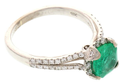 Verragio 18K White Gold Split Diamond and Emerald Ring