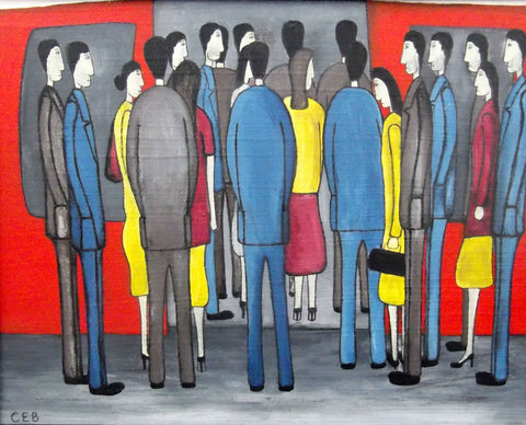 "Christopher E. Barrow (British, contemporary),""Boarding The Train, Rush Hour"", 2015, oil on board, signed"