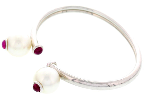 Assazi Ruby and Pearl 18K White Gold Bangle Bracelet