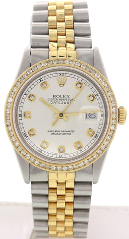 Men's Rolex 18K Yellow Gold and Stainless Steel Oyster Perpetual Datejust with Diamonds, ref. 16013