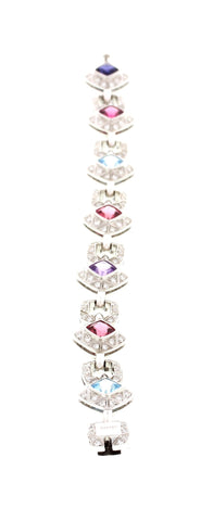 Asprey 18K White Gold, Diamond and Colored Stone Bracelet