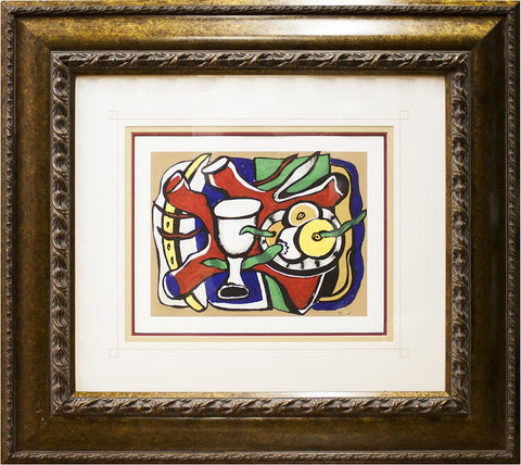 "After Fernand Leger (French, 1881-1955), ""Nature Morte Au Pomme"", offset lithograph on Stonehedge paper"