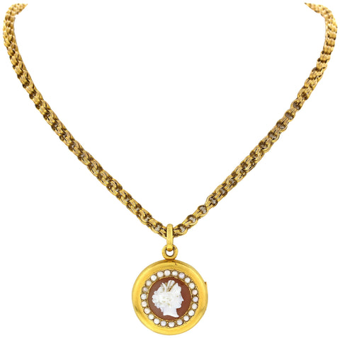 Ladies 22K Yellow Gold Pearl and Cameo Locket and 14K Yellow Gold Chain