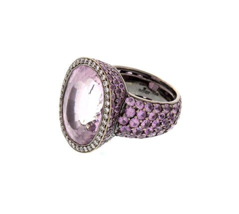 18K White Gold Kunzite and Pink Sapphire Ring, designed by Adler, Switzerland