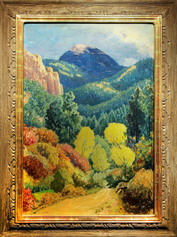 "Sheldon Parsons (American, 1866-1943), ""Blue Mountain"", ca. 1930s, oil on masonite, signed"
