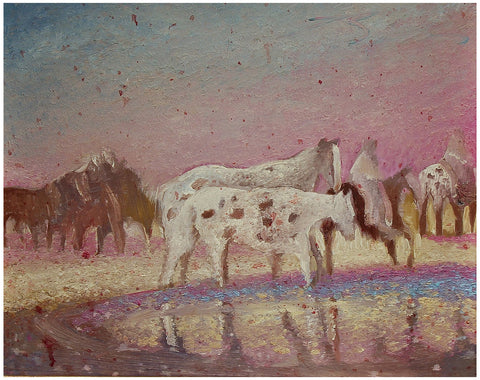 "Earl Biss (American, 1947-1998), ""Watering the Ponies on an Easy Day"", oil on canvas"