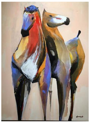 "Luigi Fumagalli (Italian, b. 1937), ""Equestre Study #2"", ca. 2007, oil on canvas, signed"