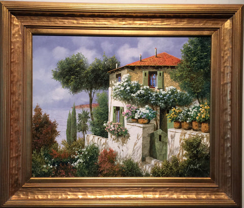 "Guido Borelli (Italian, b. 1952), ""Verde\"", oil on canvas, signed"
