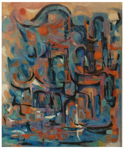 "Gertrude Barrer (American, 1921-1997), ""The Harbor"", 1992, oil on canvas, signed"