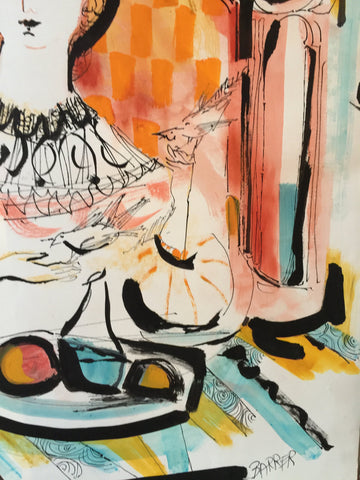 Gertrude Barrer (American, 1921-1997), Study for a serigraph, watercolor, gouache and ink on paper, signed