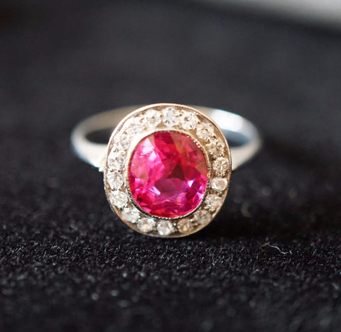 Platinum, Diamond and Burmese Ruby Ring, with AGL certificate