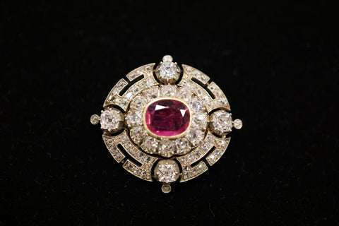Ruby and Diamond Brooch Pendant, ca. late 19th/early 20th century