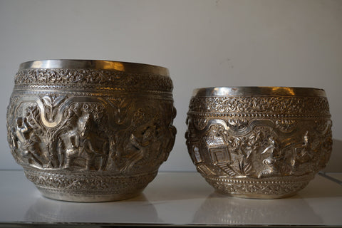 Two Burmese Silver Bowls, early 20th century, with silver-plated liners, retailed by Tiffany & Co.