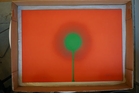 "Otto Piene (German, 1928-2014), ""So Green"", 1967, gouache and fire on paper, signed and dated"