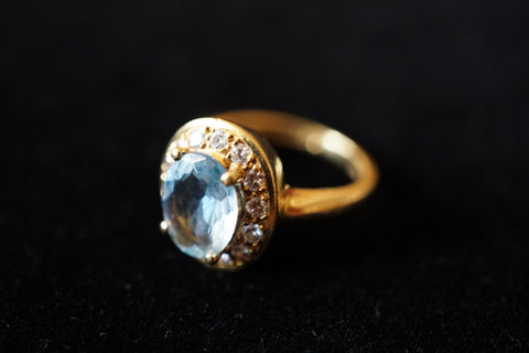 18K Yellow Gold, Aquamarine, and Diamond Ring, Tiffany & Co.
