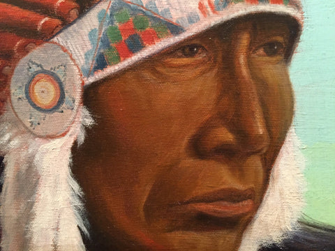 "Joe Netherwood (American, 20th century), ""The Yearning"" (Lakota Sioux Chief), 2003, oil on canvas, signed and dated"