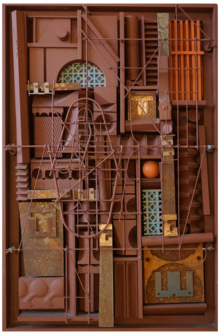Abe Ajay (American, 1919-1998), Untitled (Construction #188), 1988, mixed media, signed