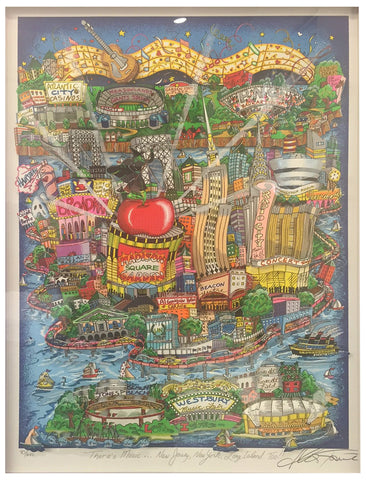 "Charles Fazzino (American, b. 1955), ""There's Music... New Jersey, New York, Long Island Too!,"" three-dimensional color screenprint, signed, ed. 200"