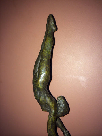 "Joseph (Joe) Brown (American, 1909-1985), ""Gymnast"" or ""Two Athletes"", 1969, patinated bronze sculpture"