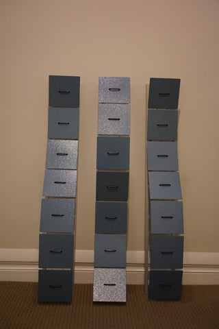 "Jacob Kulin (American, Contemporary), ""(powdercoat blue) Untitled"", 2002, mixed media wall mounted sculpture in three sections, signed and dated"