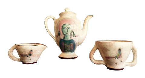 Polia Pillin Hand Painted Three-Piece Ceramic Coffee Service, ca. 3rd quarter 20th century, signed