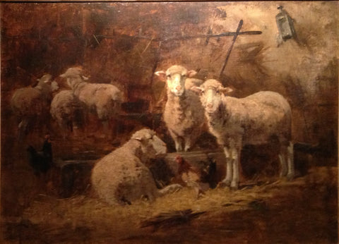 British School (19th Century), Sheep and Chickens in the Barn, oil on canvas, signed 'Thompson'