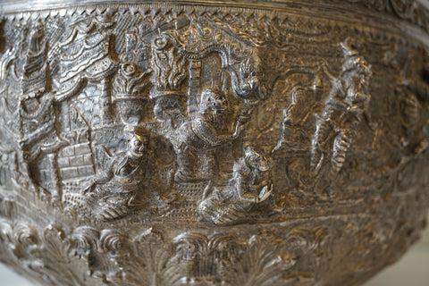 Burmese Silver Large Bowl, early 20th century