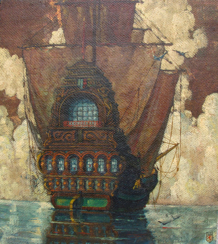 "Peter Koch (American, b. 1900), ""Pirate Ship"", ca. 1925, oil on board, signed"