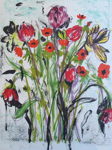 "Jim Dine (American, b. 1935), ""Anemones"", 2005, color lithograph, signed, annotated, ed. 200"