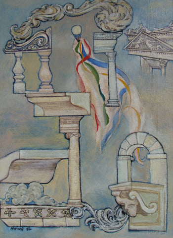 "Hananiah Harari (American, 1912-2000), ""Classics Aloft"", 1942, oil on canvas, signed and dated"