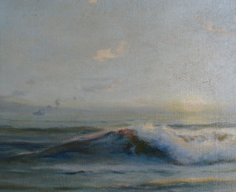 "Angel Espoy (American, 1879-1963), ""Seascape at Sunset"", ca. 1940, oil on canvas, signed"