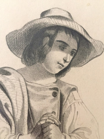 French School (19th Century), Shepherd Boy, 1847, pencil on paper