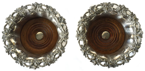 Pair of Victorian Silver-Plated Wine Coasters, Padley, Parkin & Co., ca. 1849-1855