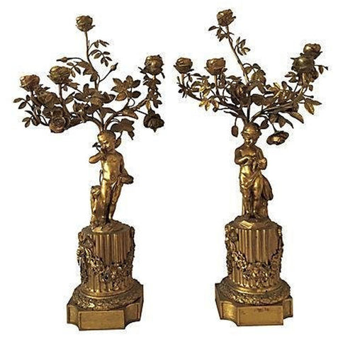Pair of French Gilt Bronze Five-Light Candelabra, ca. 19th century