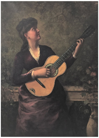 Italian School (19th Century), Woman Playing Guitar, oil on canvas